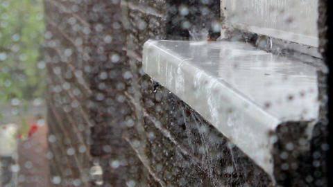 Rain Tapping On The Window Sill 4 stock footage
