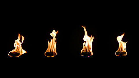 Real Fire Isolated On Black Background. Flame Spee stock footage
