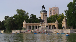 Alfonso XII Monument And Lake In Retiro Park In Ma stock footage