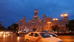 The Cybele Palace on Cibeles Square in Madrid Footage