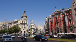 Alcala Street And TheMetropolis Building In Madr stock footage