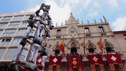 Castells in Terrassa, Spain Footage