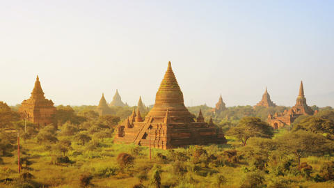 Ancient Temples At The Sunset. Bagan. Myanmar stock footage