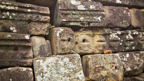 Stone blocks from the ancient wall of the temple.  Footage