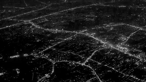 Night lights of the city. View from the airplane w Live Action