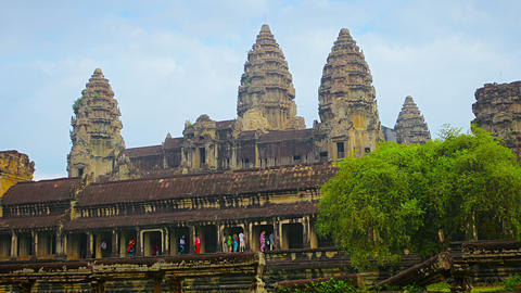 Ancient temple complex - Angkor Wat in Cambodia Live Action