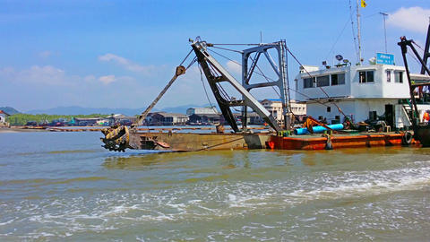 RANONG. THAILAND - 11 FEB 2014: Shipping And Trans stock footage