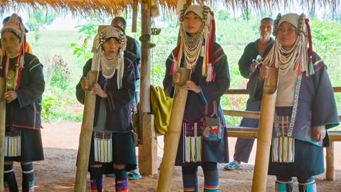 CHIAND RAI. THAILAND - 04 DEC 2013: Akha people pl Footage