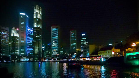 View of the Singapore business center and the rive Footage