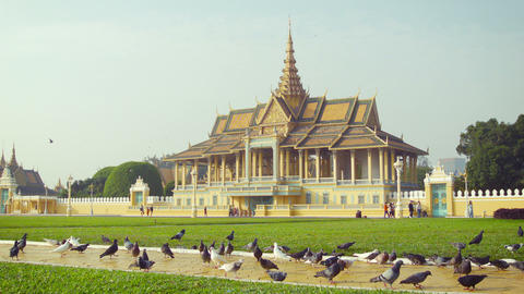 Royal Palace. Moonlight Pavilion in Phnom Penh. Ca Footage