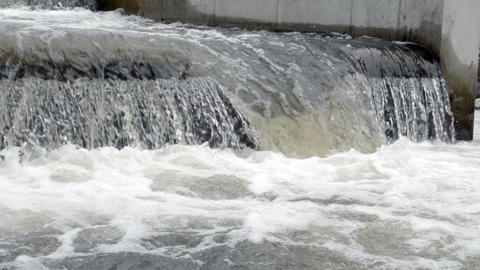 Bubbles Created From Fish Ladder S Rushing Water stock footage