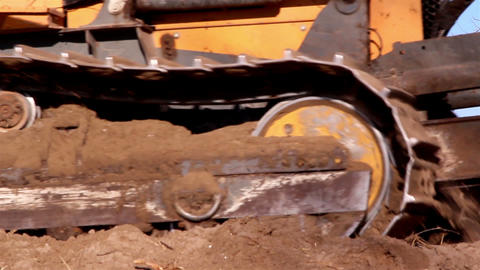A big bulldozer with large amount of soil Footage