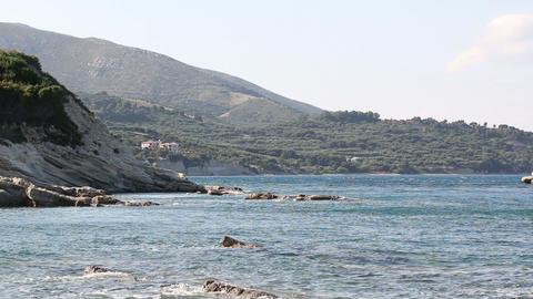 Sunny shoreline in Zakynthos, Greece Live Action