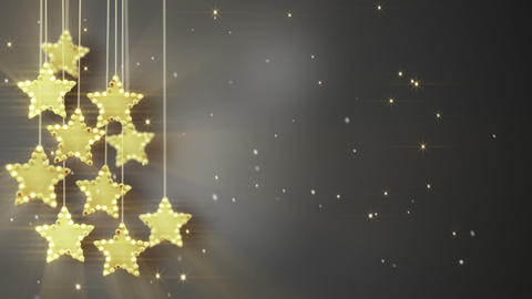 gold hanging stars christmas lights loop Animation