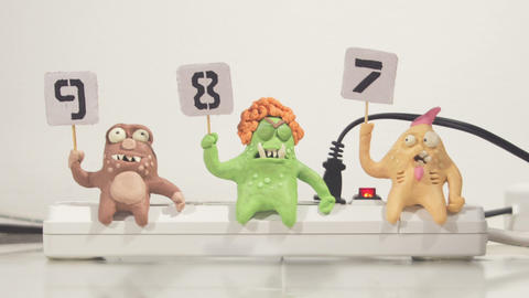 Stopmotion Animation Monster Jury Voting stock footage