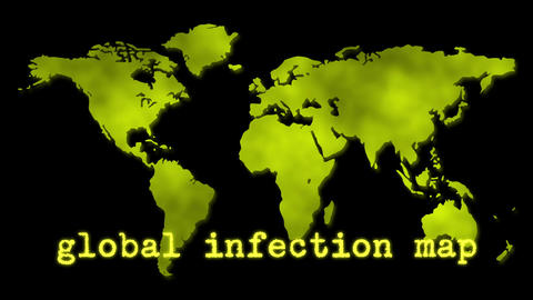 Yellow Global Infection Map Epidemic Stock Video Footage