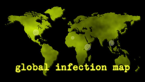 Yellow Global Infection Map Epidemic Animation