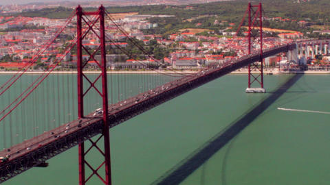 25 Abril Bridge seen from Cristo Rei Footage