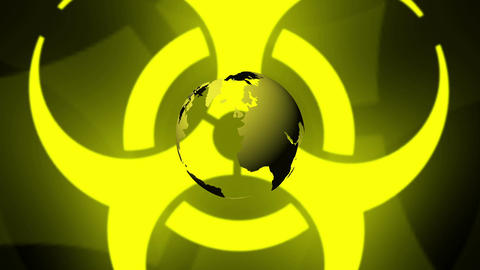Pulsing Biohazard Symbol With Earth Animation