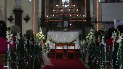 Women sit on wedding ceremony in church Footage