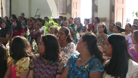 Women Sit On Wedding Ceremony In Church stock footage