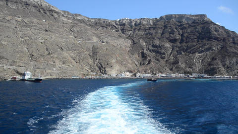 Ferry Leaving Santorini Port, Greece stock footage