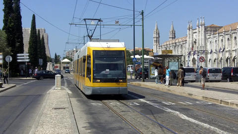 Lisbon Modern Tram Near The Monastary stock footage