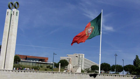 Portuguese Flag Eduardo VII, Lisbon Footage
