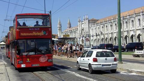 Lisbon Red Bus Sightseeing Jerónimos Monastary stock footage