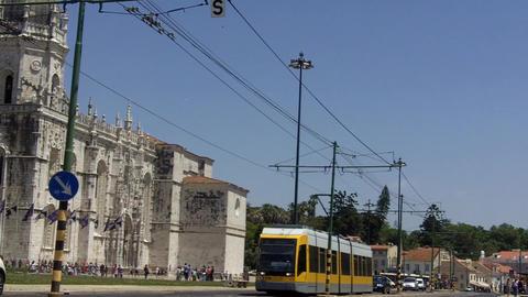 Lisbon Tram in Belém near the Monastary Live Action