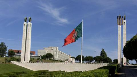 Portuguese Flag Parque Eduardo VII Footage