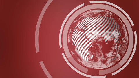 Earth Globe in corner looping on red background Animación