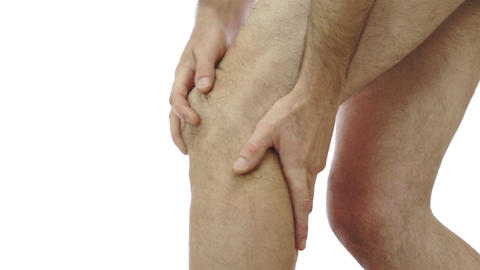 Male Rubs His Knee Joint Pain Footage