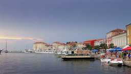 Dock in Croatia, houses by the sea Stock Video Footage