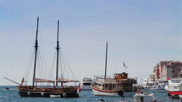 Boats in Rovinj harbor, Croatia Stock Video Footage