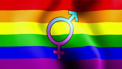 waving rainbow flag bisexual Stock Video Footage