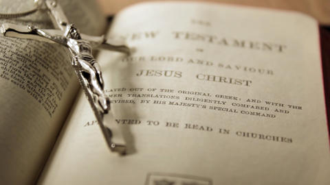 Crucifix and Bible Stock Video Footage