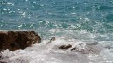 Waves Splashing The Rocky Coastline stock footage