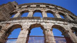 Roman amphitheater in Pula, Croatia Stock Video Footage
