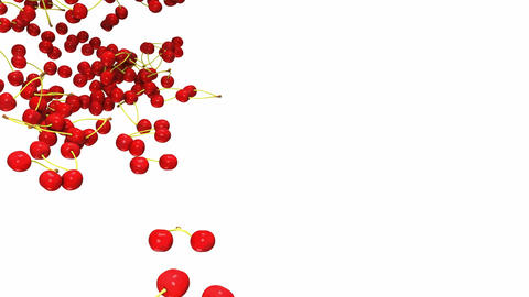 Red cherry flow with slow motion over white Stock Video Footage