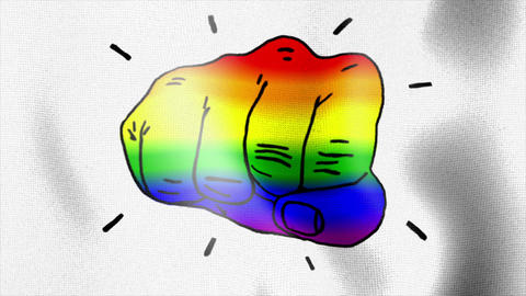 rainbow flag fist punch hit Stock Video Footage
