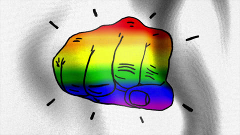 rainbow flag fist punch hit Animation