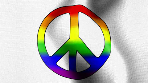 waving flag rainbow peace sign Stock Video Footage