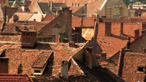 Old City Rooftops during a Heatwave Stock Video Footage
