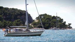 Anchored yachts in Adriatic Sea, Croatia Stock Video Footage