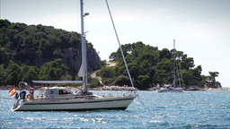 Anchored yachts in Adriatic Sea, Croatia Footage