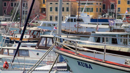 Boats and yachts in Rovinj Harbor, Croatia Stock Video Footage