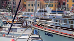 Boats and yachts in Rovinj Harbor, Croatia Footage
