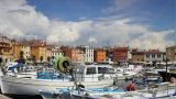 Boats In Rovinj Harbor, Time-lapsed Clouds stock footage