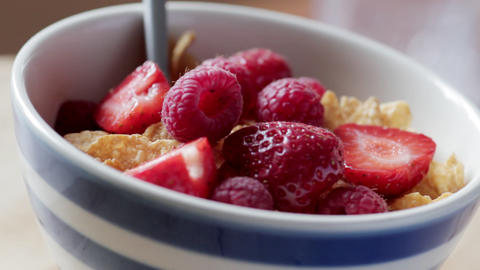 Cereal with fresh fruit Stock Video Footage